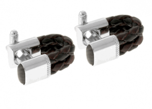 Tateossian rt Brown Leather Cufflinks
