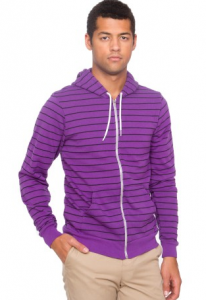 Striped Fleece Zip Hoody
