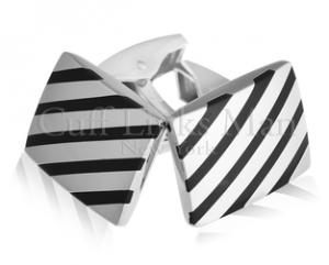 Black Liquorice Candy, Onyx Striped Cufflinks