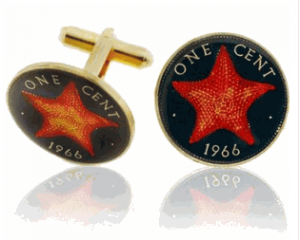 Bahamian Star Fish Penny Hand Painted Coin Cufflinks