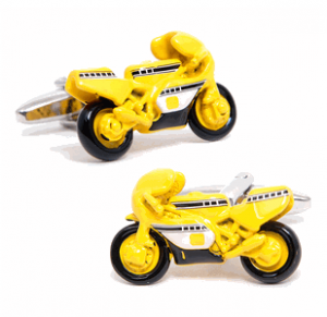 Yellow Moto GP Racing Bike Cufflinks (Kid-Friendly!)