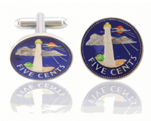 Bardadian Lighthouse Hand Paint Coin Cufflinks