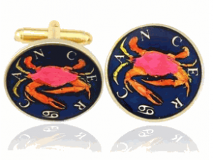 Hand Painted Cancer Crab Cufflinks
