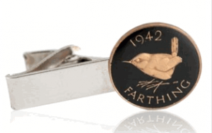 England Farthing hand painted Coin Tie Clip