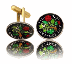 English 6-Pence Hand Painted Coin Cufflinks