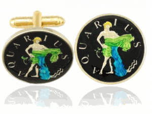 Aquarius The Water Carrier Coin Cufflinks