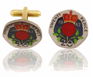 English 20-Pence Hand Painted Coin Cufflinks, $138