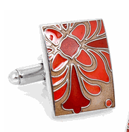 Enamel Art Deco Flower Cufflinks