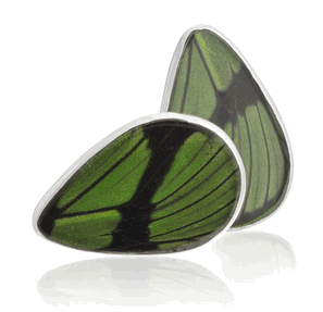 Aymara Green tea Leaf Butterfly Cufflinks