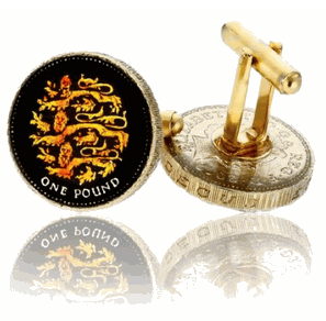 English 3 Lions Pound, Hand Painted Coin Cufflinks