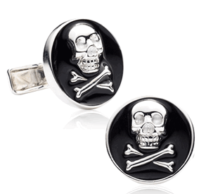 Enamel Skull and Crossbones Cufflinks