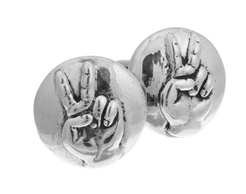 Sterling Silver Peace Sign Hands Cufflinks