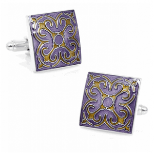 Purple Enamel Tracery Cufflinks