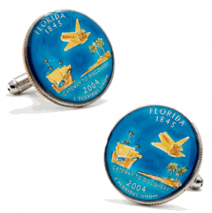 Hand Painted Florida State Quarter Cufflinks