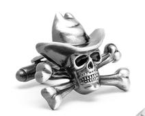 Antique Silver Cowboy Skull and Crossbones Cufflinks