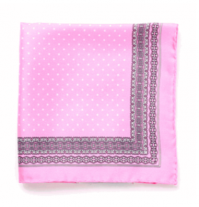 100% Italian Silk Pocket Square in Soft Pink from Daniel Dolce