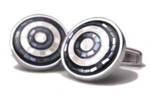 Circular Pavement Mosaic Mother of Pearl Cufflinks