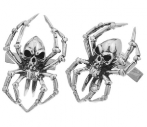Sterling Silver Skeleton Spider Cufflinks