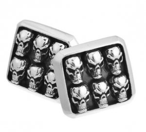 Sterling Silver, Six Skull Faces Cufflinks