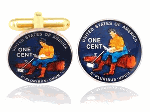 Splitting Log, Hand Painted Coin Cufflinks