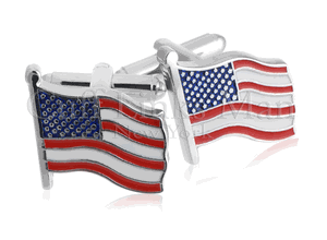 Waving American Flag Silver Cufflinks