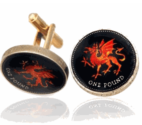 Welsh Red Dragon Hand Painted Coin Cufflinks