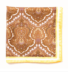 Burnt Brown Paisley 100% Silk Pocket Square