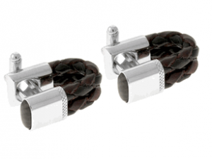 Tateossian rt Brown Black Leather Cufflinks