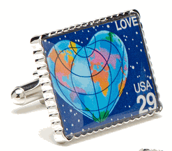 Heart Earth Stamp Cufflinks