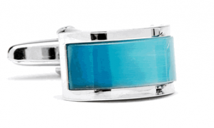 Carribean Blue Cats Eye Bridged Cufflinks