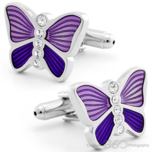 Light Violet Butterfly Cufflinks