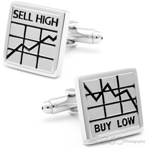 Bustling Stock Market Silver Cufflinks