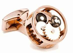 Rose Gold Round Watch Cufflinks