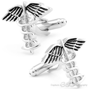 CADUCEUS MEDICAL CUFFLINKS