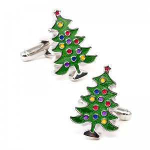 Decorated Christmas Tree Cufflinks