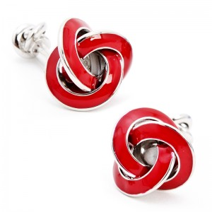 Double Ended Red Enamel Knot Cufflinks