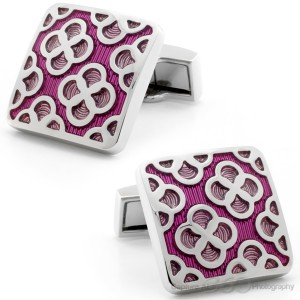 Pink Flower Edge Cufflinks