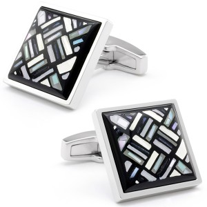 STONE MOSAIC HERRINGBONE WITH BLACK ONYX CUFFLINKS