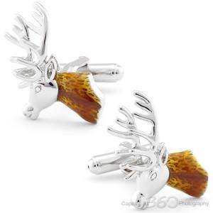 Silver Sleigh Reindeer Cufflinks