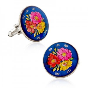 Hand Painted Japanese Cherry Blossom Coin Cufflinks